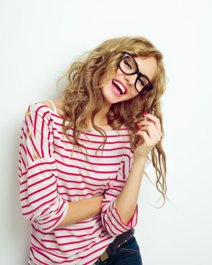 Laughing Woman in Glasses